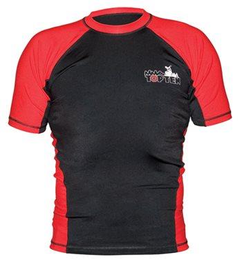 Maglietta TOP TEN MMA Rash Guard manica corta nero/rossa