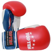 Kickboxing Gloves TOP TEN Fight 10 Oz Tricolor Genuine Leather