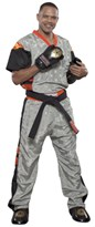 "Kickboxing Uniform TOP TEN Poly Mesh ""Neon Edition"" Grey/Orange"