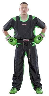"Kickboxing Uniform TOP TEN Poly Mesh ""Special Mesh Neon"" Black/Green"