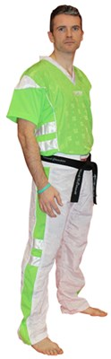 "Divisa Kickboxing TOP TEN Poly Mesh ""Neon Edition"" Bianco/Verde"