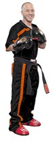 Kickboxing Uniform TOP TEN MESH Black/Orange Special Edition