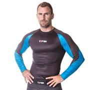 Maglietta MMA TOP TEN Rash Guard Octagon Blue manica lunga