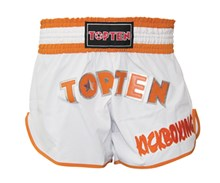 Pantaloncini Kickboxing Thai TOP TEN FLEXZ Bianco/Arancio