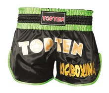 Kickboxing Thai Shorts TOP TEN FLEXZ Black/Green