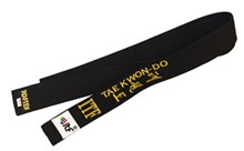 TOP TEN Taekwon-Do ITF Belt Black Embroidered