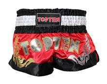 Kickboxing Thai Shorts TOP TEN NEON Red