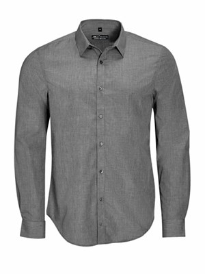 BARNET MEN - MEN'S LONG SLEEVE HEATHER POPLIN SHIRT