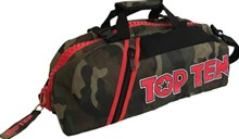 TOP TEN Sportbag/backpack combo SPORT BAG Camouflage Zip Red Small