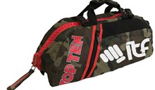 TOP TEN Sportbag/backpack combo SPORT BAG Camouflage Zip Red Big ITF