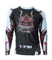 "Maglietta MMA TOP TEN Rash Guard ""Samurai"" Nero/Blu Manica Lunga"