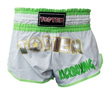 Kickboxing Thai Shorts TOP TEN FLEXZ White/Green