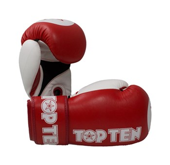 "Kickboxing Gloves TOP TEN XLP WAKO ""Star"" 10 Oz in leather Red"