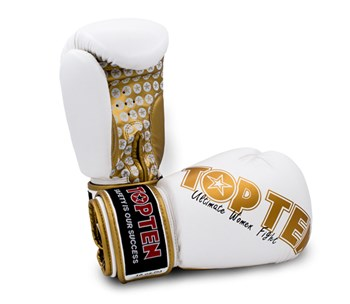 "Kickboxing Gloves TOP TEN ""Women"" White/Gold 10 oz"