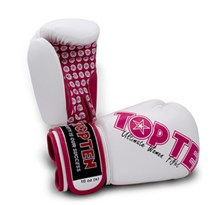 "Kickboxing Gloves TOP TEN ""Women"" White/Pink 10 oz"