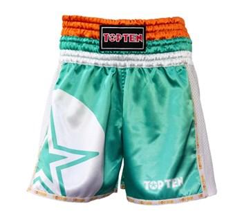 "Kickboxing Thai Shorts TOP TEN ""STAR"" Green"