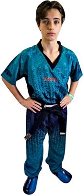 "Kickboxing Uniform TOP TEN ""Grafic"" Teal/Black"