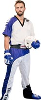 "Divisa Kickboxing TOP TEN ""Bow"" Bianco/Blu/Nero"