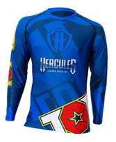 "Maglietta MMA TOP TEN Rash Guard ""Hercules"" Blu/Nero Manica Lunga"