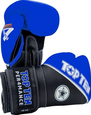"Guantoni Boxe TOP TEN ""4 Select"" in Vera Pelle Blu 10/12/14/16 oz"
