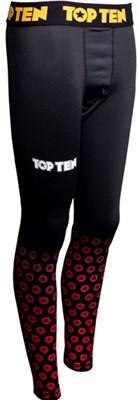 "Compression Leggings TOP TEN ""Black Print"" Rosso"