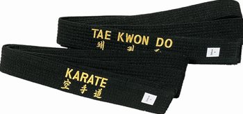 Cintura nera con ricamo TAEKWON-DO
